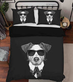 3D Hand Drawn Animal Black Dog Quilt Cover Set Bedding Set Duvet Cover Pillowcases 128 LQH