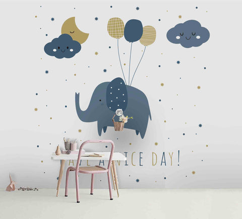 3D Cartoon Elephant Balloon Cloud Moon Wall Mural Wallpaper A229 LQH