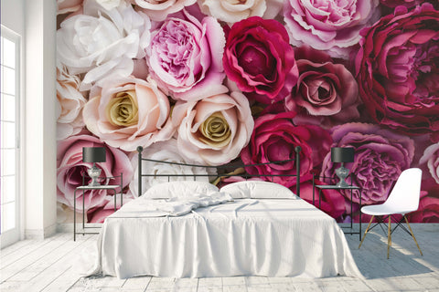 3D red pink rose floral wall mural wallpaper 65