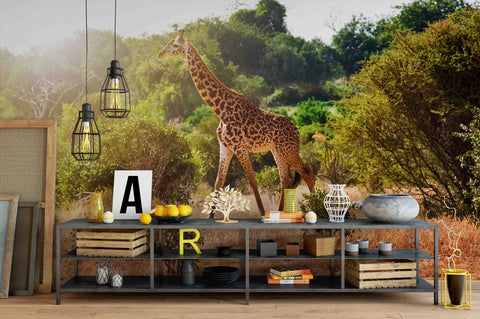 3D Giraffe Forest Wall Mural Wallpaper 45