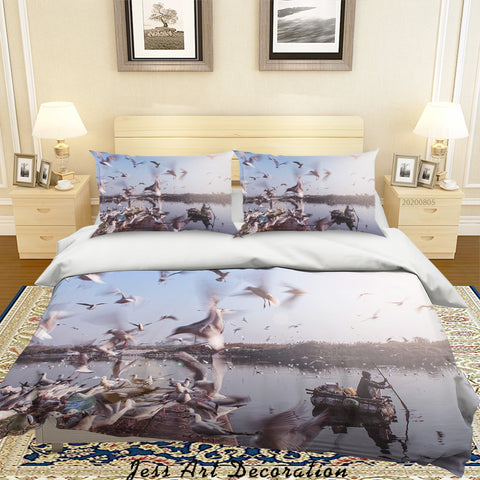 3D Seagull Crowd Boating Scenery Quilt Cover Set Bedding Set Duvet Cover Pillowcases LXL 87