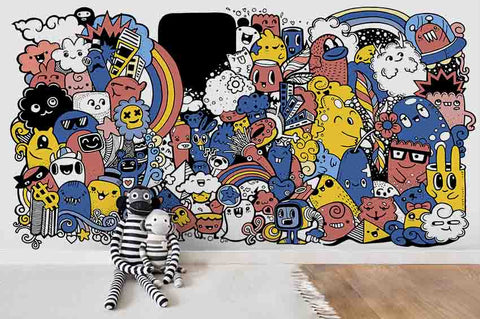 3D Cartoon Graffiti Wall Mural Wallpaper SF66