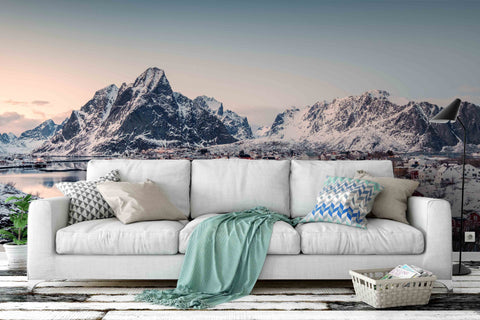 3D snow mountain lake wall mural wallpaper 44