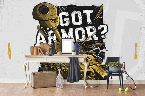 3D Golden Tank White Slogan Wall Mural Wallpaper 259