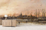 3D Pastoral Winter Oil Painting Wall Mural Wallpaper 16