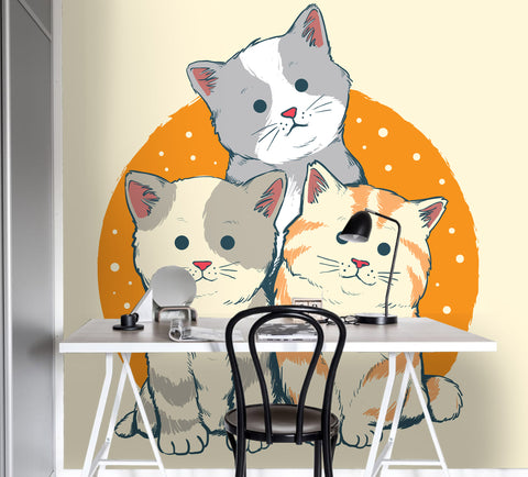 3D Cartoon Cat Yellow Wall Mural Wallpaper 11