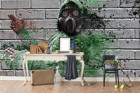 3D Grey Brick Gas Mask Graffiti Wall Mural Wallpaper 184