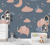 3D Cartoon Elephant Starry Sky Wall Mural Wallpaper A193 LQH