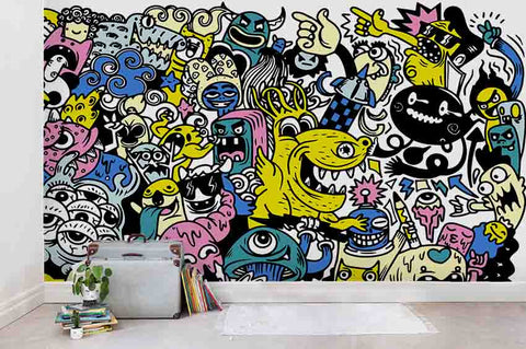 3D Cartoon Graffiti Wall Mural Wallpaper SF61