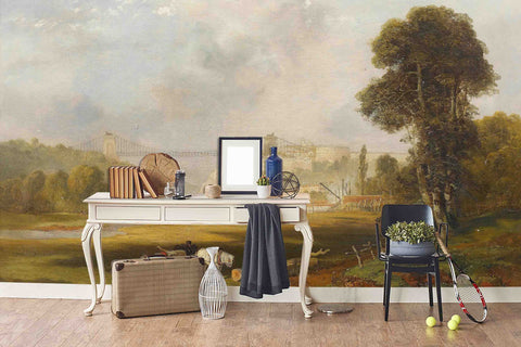 3D country bridge oil painting wall mural wallpaper 59