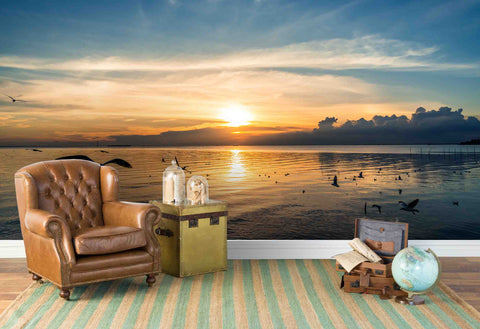 3D Beach Sunrise Seagull Wall Mural Wallpaper 57