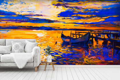 3D Boat Wooden Trestle Oil Painting Wall Mural Wallpaper SF18