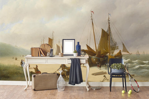 3D beach wooden boat oil painting wall mural wallpaper 83
