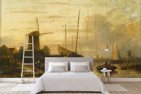 3D nordic windmill fishing boat oil painting wall mural wallpaper 4