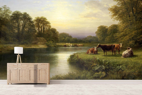 3D country river cow oil painting wall mural wallpaper 44