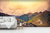 3D mountains sky clouds wall mural wallpaper 18
