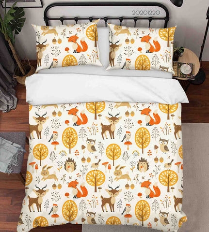 3D Hand Drawn Animal Fox Hedgehog Forest Quilt Cover Set Bedding Set Duvet Cover Pillowcases 50