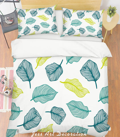 3D Leaf Simple Line Drawing Quilt Cover Set Bedding Set Pillowcases  12