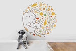 3D Cartoon Cat Yellow Leaf Wall Mural Wallpaper A233 LQH
