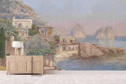 3D Seaside Castle Oil Painting Wall Mural Wallpaper 57