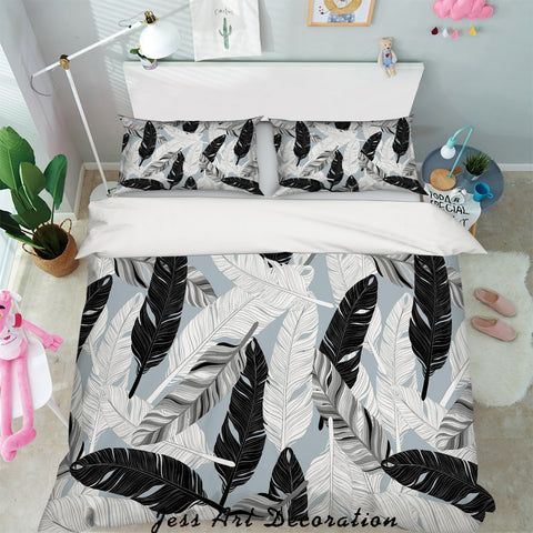 3D White Black Feathers Quilt Cover Set Bedding Set Pillowcases 06