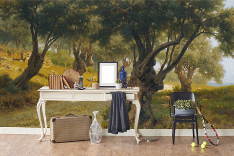 3D field forest oil painting wall mural wallpaper 70