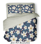 3D White Flowers Pattern Quilt Cover Set Bedding Set Pillowcases  2