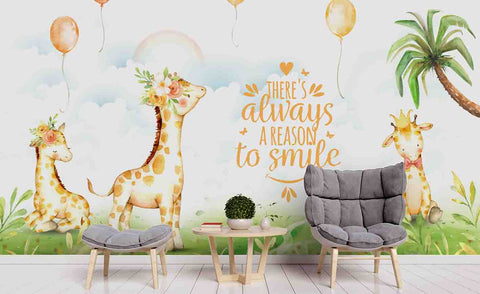 3D Cartoon Giraffe Grassland Wall Mural Wallpaper 86
