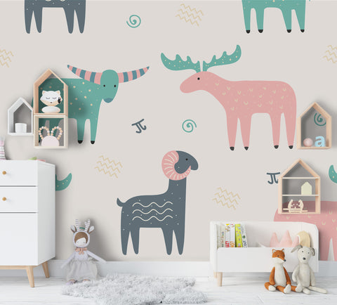 3D Cartoon Reindeer Antelope Wall Mural Wallpaper A172 LQH