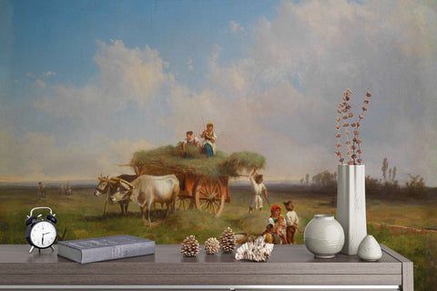 3D Pastoral Labor  Oil Painting Wall Mural Wallpaper 4
