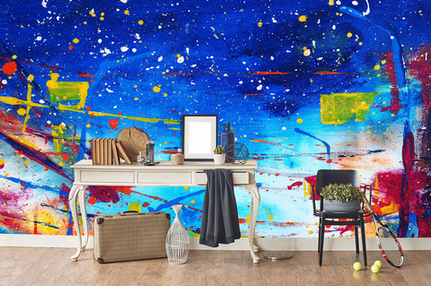 3D watercolor graffiti wall mural wallpaper 42
