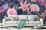 3D pink rose lily wall mural wallpaper 7