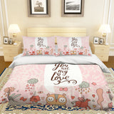 3D Cartoon Animal Pink Quilt Cover Set Bedding Set Pillowcases 70