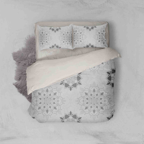 3D Grey Floral Quilt Cover Set Bedding Set Pillowcases 38