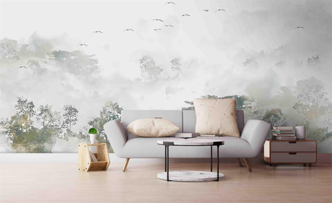 3D Forest Trees Wall Mural Wallpaper SF33