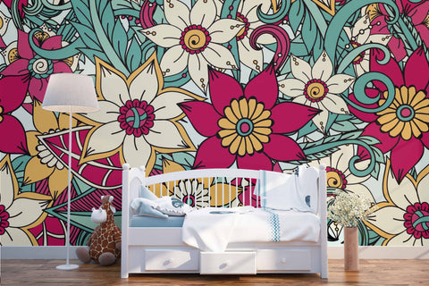 3D Red Flowers Wall Mural Wallpaper 53