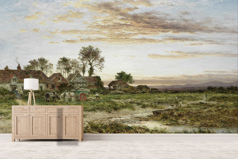 3D countryside scenery oil painting wall mural wallpaper 32