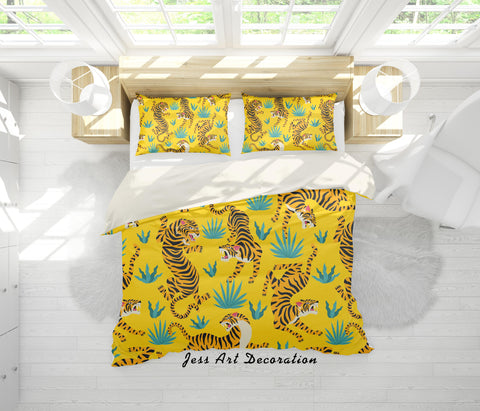 3D Tigers Yellow Background Quilt Cover Set Bedding Set Pillowcases 11