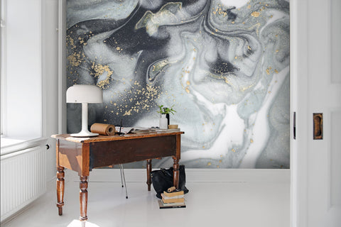 3D Abstract Grey Gilding Marbling Wall Ship Mural Wallpaper 28 - Jessartdecoration