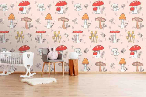 3D Cartoon Red Mushroom Wall Mural Wallpaper A220 LQH