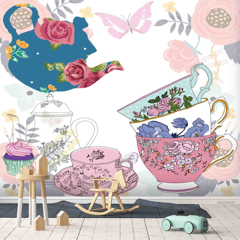 3D Vintage Butterfly Colorful Floral Tea Cup Teapot Wall Mural Wallpaper LXL 1585