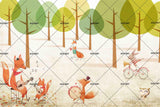 3D Cartoon Forest Fox Rabbit Wall Mural Wallpaper SF32