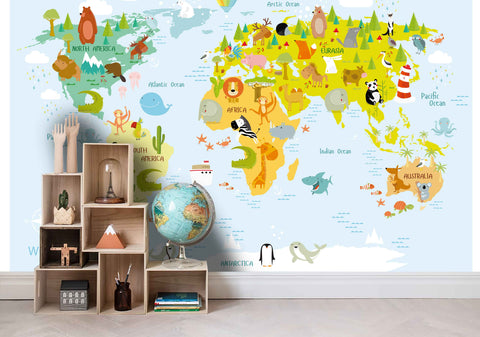 3D  Color World Map Cartoon  Wall Mural Wallpaper 22