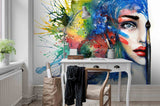 3D Abstract Oil Painting Colorful Characters  Wall Mural Wallpaper 63