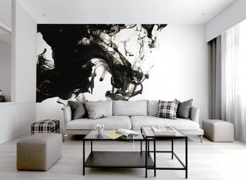 3D Black White Watercolor Wall Mural Wallpaper 385