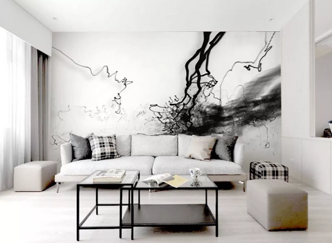 3D Black White Smoke Watercolor Wall Mural Wallpaper 454