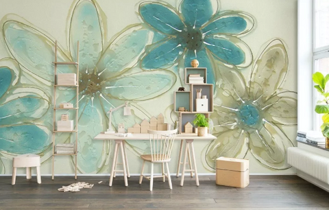 3D Blue Green Floral Wall Mural Wallpaper 291