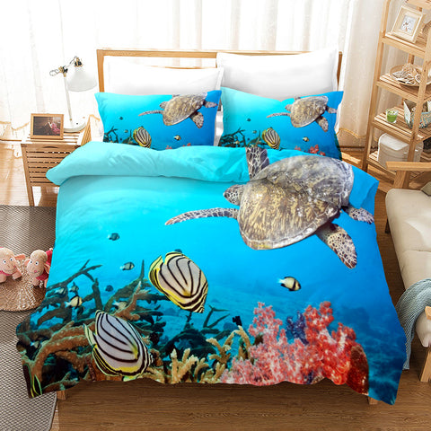 3D Undersea World Turtle Quilt Cover Set Bedding Set Pillowcases 102