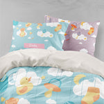 3D Cartoon Doll White Cloud Quilt Cover Set Bedding Set Pillowcases 74