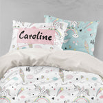 3D Unicorn Rainbow White Quilt Cover Set Bedding Set Pillowcases 64